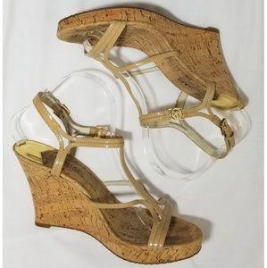 Michael Kors Patent Tan Cork Platform Wedges
